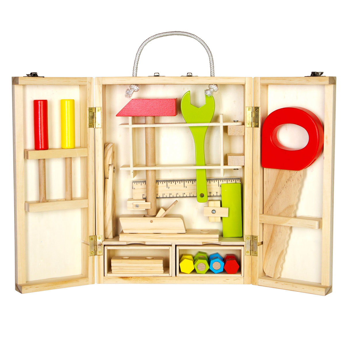 Glow2B scatola degli attrezzi 25 pz. giocattoli di legno Pirum  Glow2B scatola ...