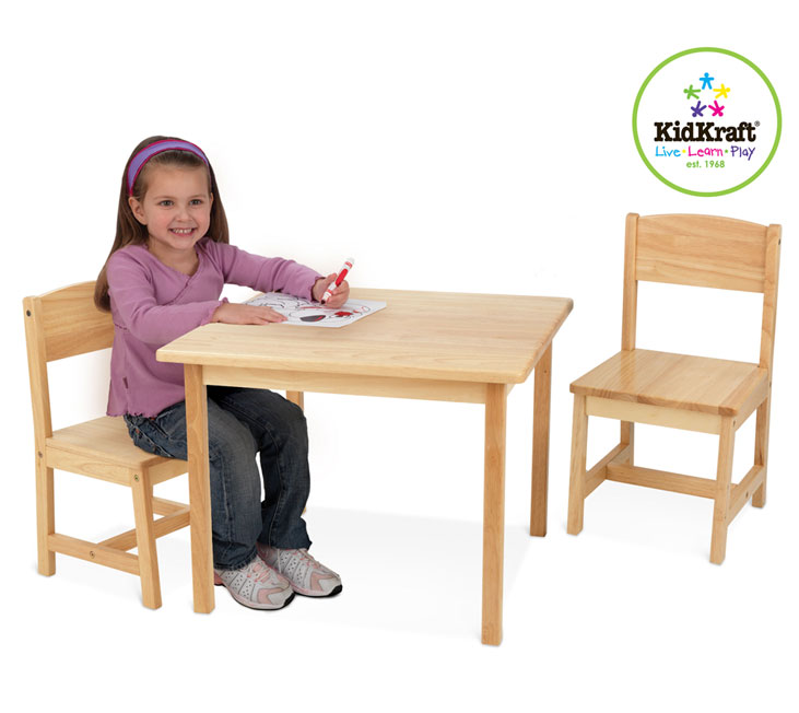 kidkraft aspen 21221 tisch mit 2 st hle natur. Black Bedroom Furniture Sets. Home Design Ideas