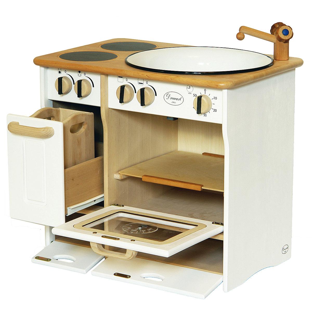 Drewart cucina di legno bianco giocattoli di legno pirum for Cucina legno bianco