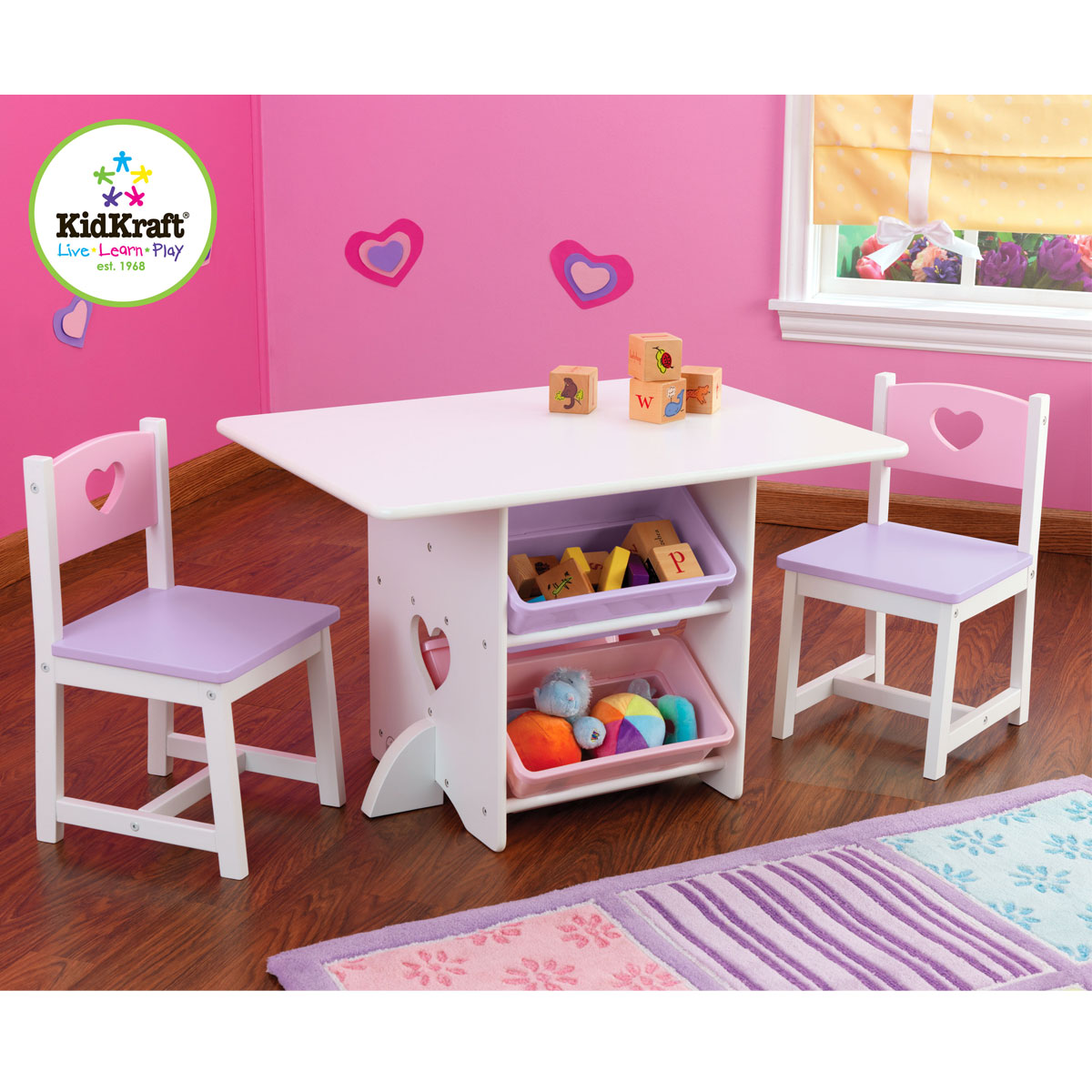 Kidkraft 26913 Heart, Set Tavolo e sedia per bambini con cestelli