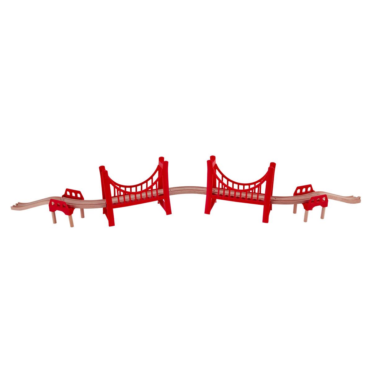 Hape extended double suspension bridge e3710 pirum for Suspension double