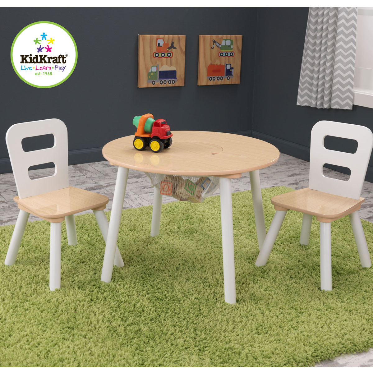 Kidkraft round storage table chair set 27027 for Table ronde 52