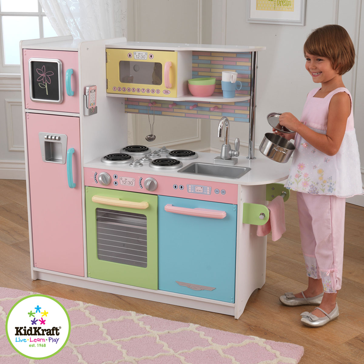 kidkraft uptown pastel kitchen 53257 pirum. Black Bedroom Furniture Sets. Home Design Ideas