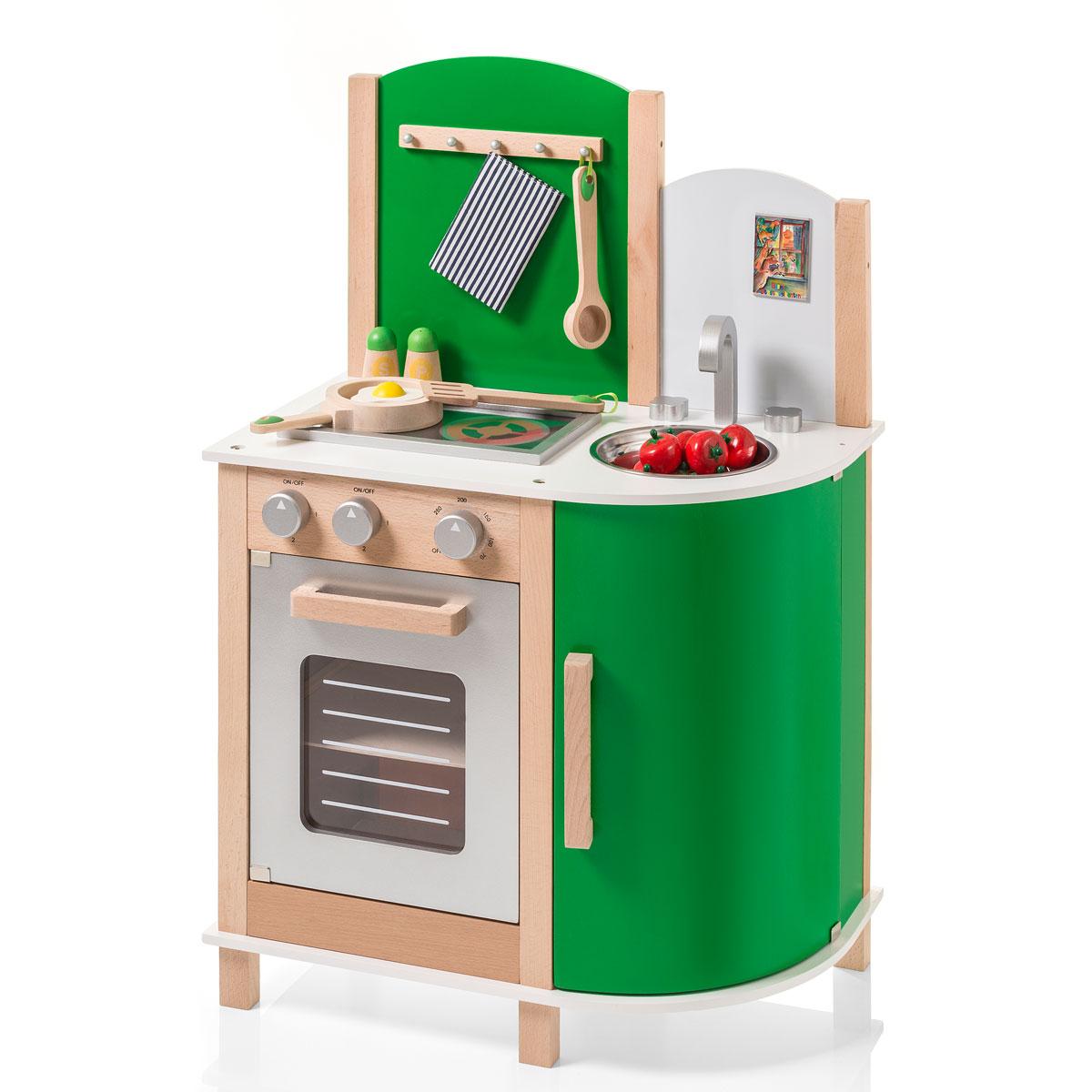 SUN 4132 Kinderküche grün aus robustem Holz mit Kochfeld und Ofen - Sun