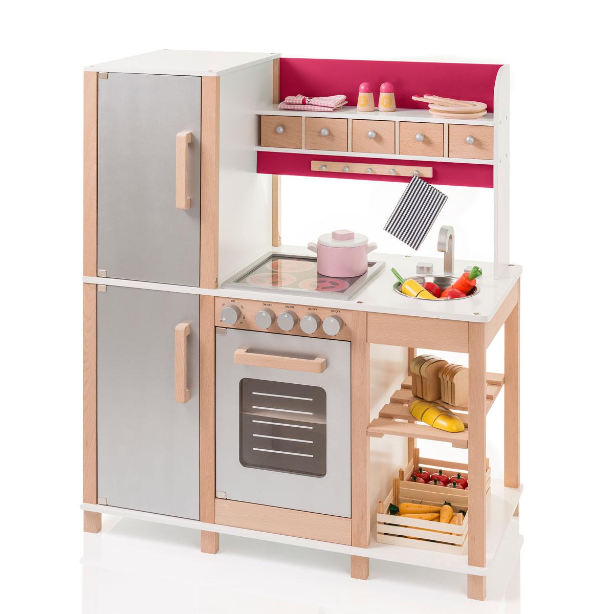 SUN Kinderküche natur beere aus Holz mit Kühlschrank