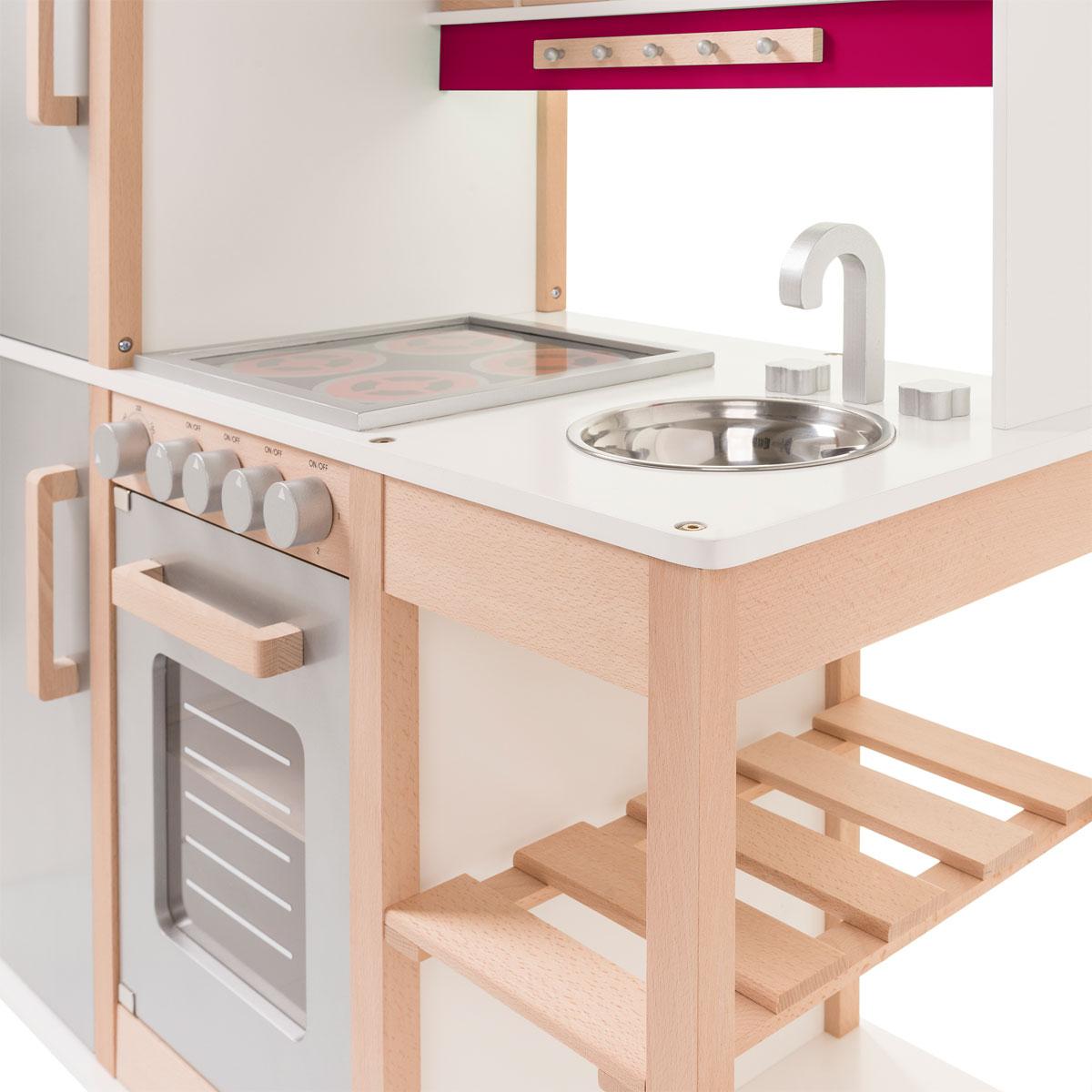 SUN 04136 Kinderküche natur-beere aus Holz mit Kühlschrank