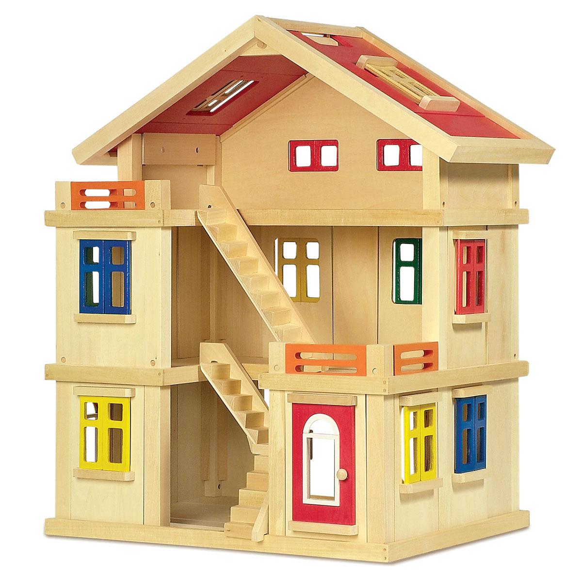 Puppenhaus Holz Kindergarten ~ Puppenhaus Deluxe aus Holz für Kinder  Pirum Holzspielzeuge de
