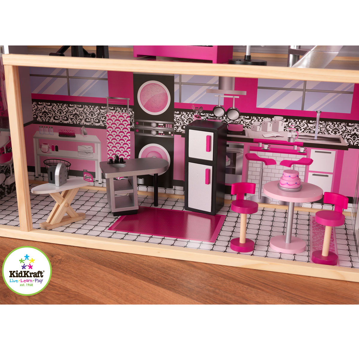 kidkraft puppenhaus glitzer puppen villa aus holz 65826. Black Bedroom Furniture Sets. Home Design Ideas