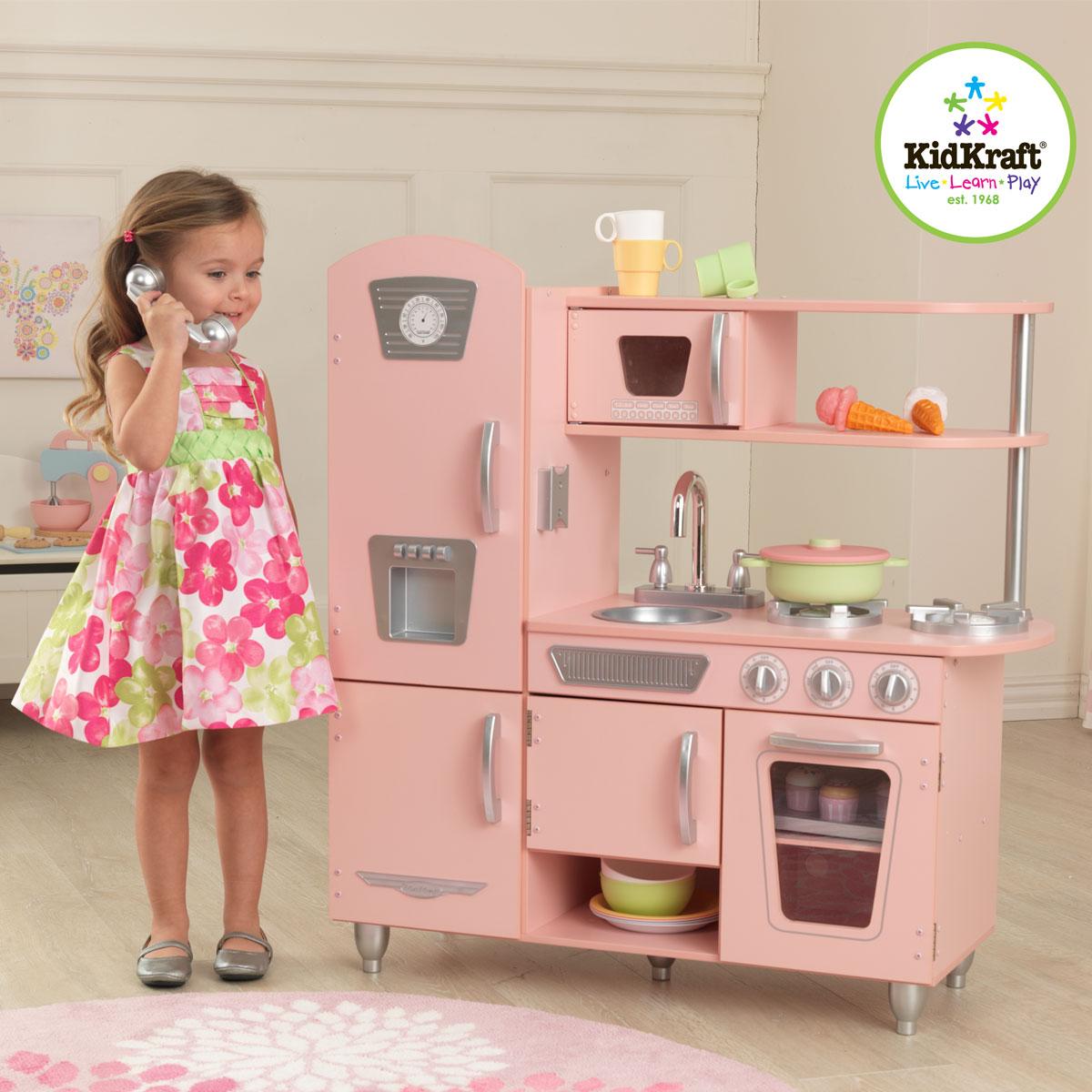 Rosa Retro-Küche aus Holz von KidKraft 53179