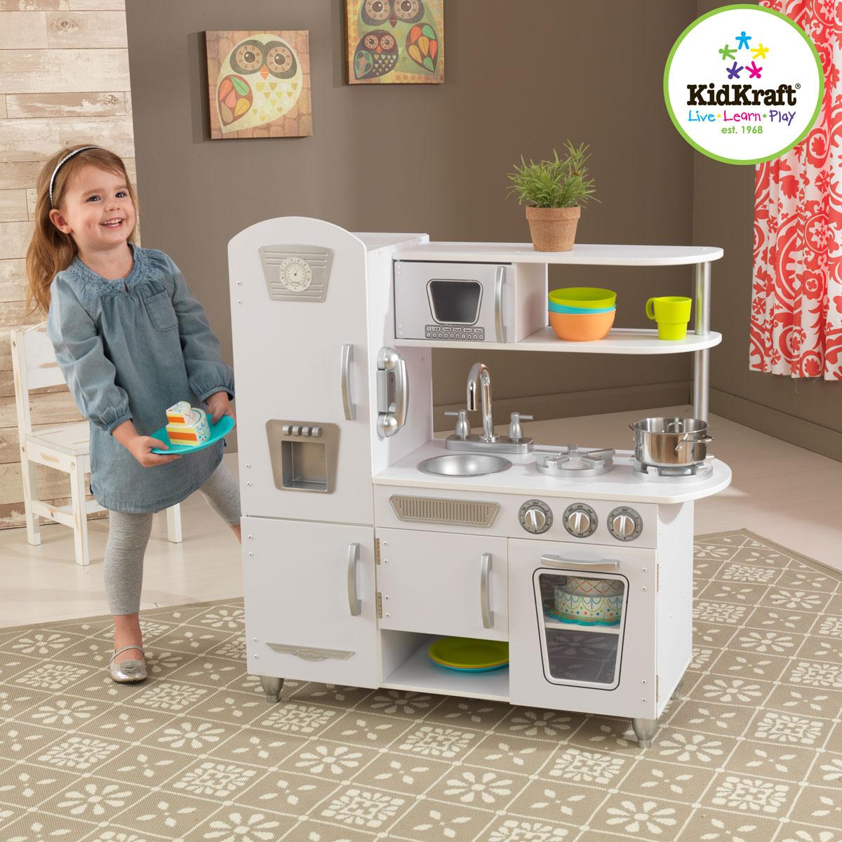 kidkraft weiße retro-küche 53208 aus holz - pirum-holzspielzeuge.de - Kidkraft Weiße Retro Küche 53208