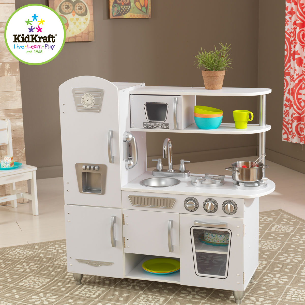 kidkraft combin de cuisine r tro blanc 53208. Black Bedroom Furniture Sets. Home Design Ideas