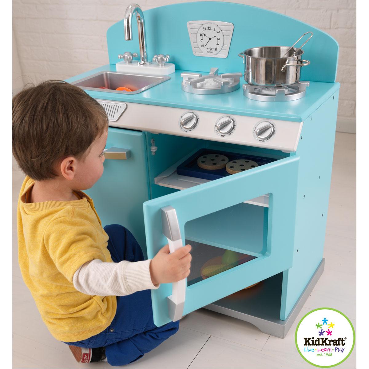 kidkraft kinderk che kochherd aus omas zeiten blau aus holz. Black Bedroom Furniture Sets. Home Design Ideas