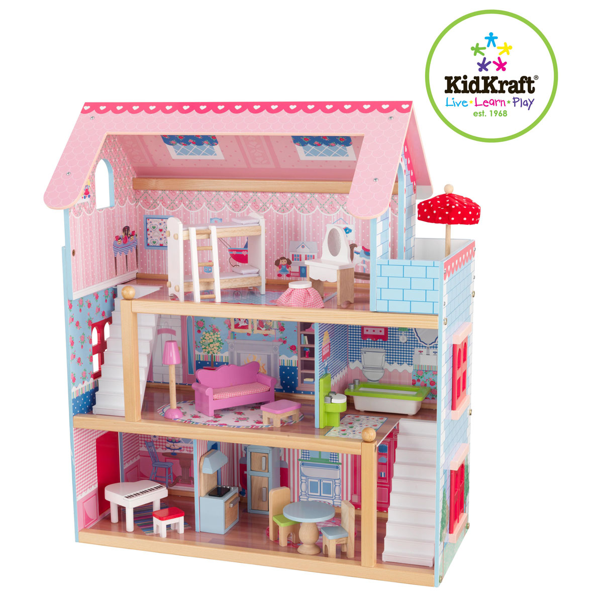 kidkraft puppenhaus chelsea 65054. Black Bedroom Furniture Sets. Home Design Ideas