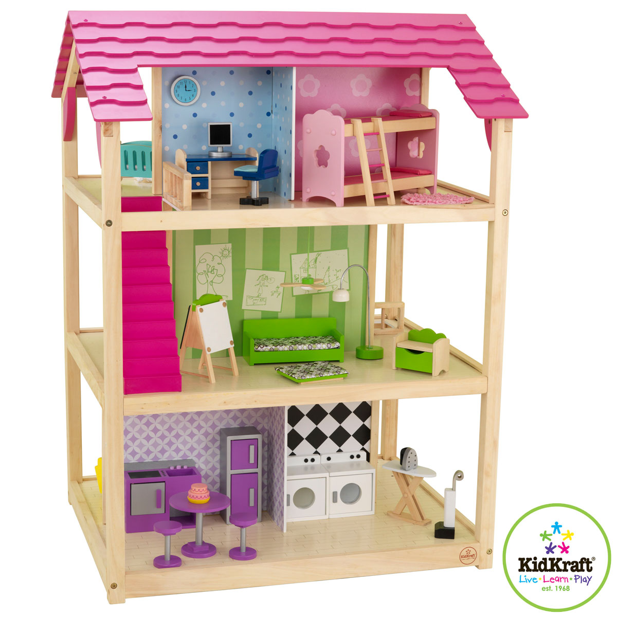Kidkraft puppenhaus so chic 65078 puppenh user aus holz for Accessori per la casa di barbie