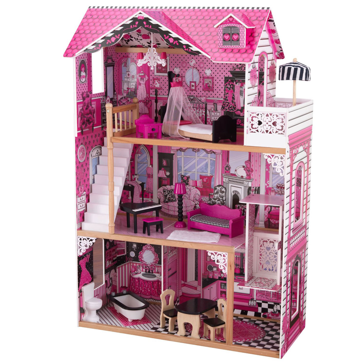 kidkraft amelia doll house 65093 pirum. Black Bedroom Furniture Sets. Home Design Ideas