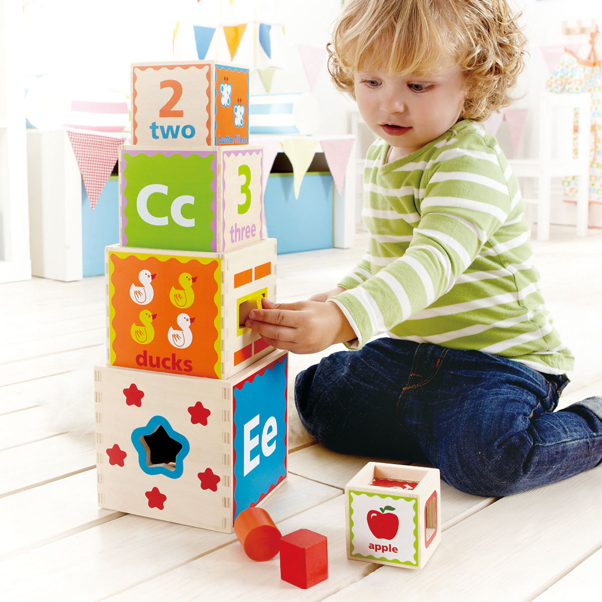 Hape Stapel-Pyramide Holzspielzeug
