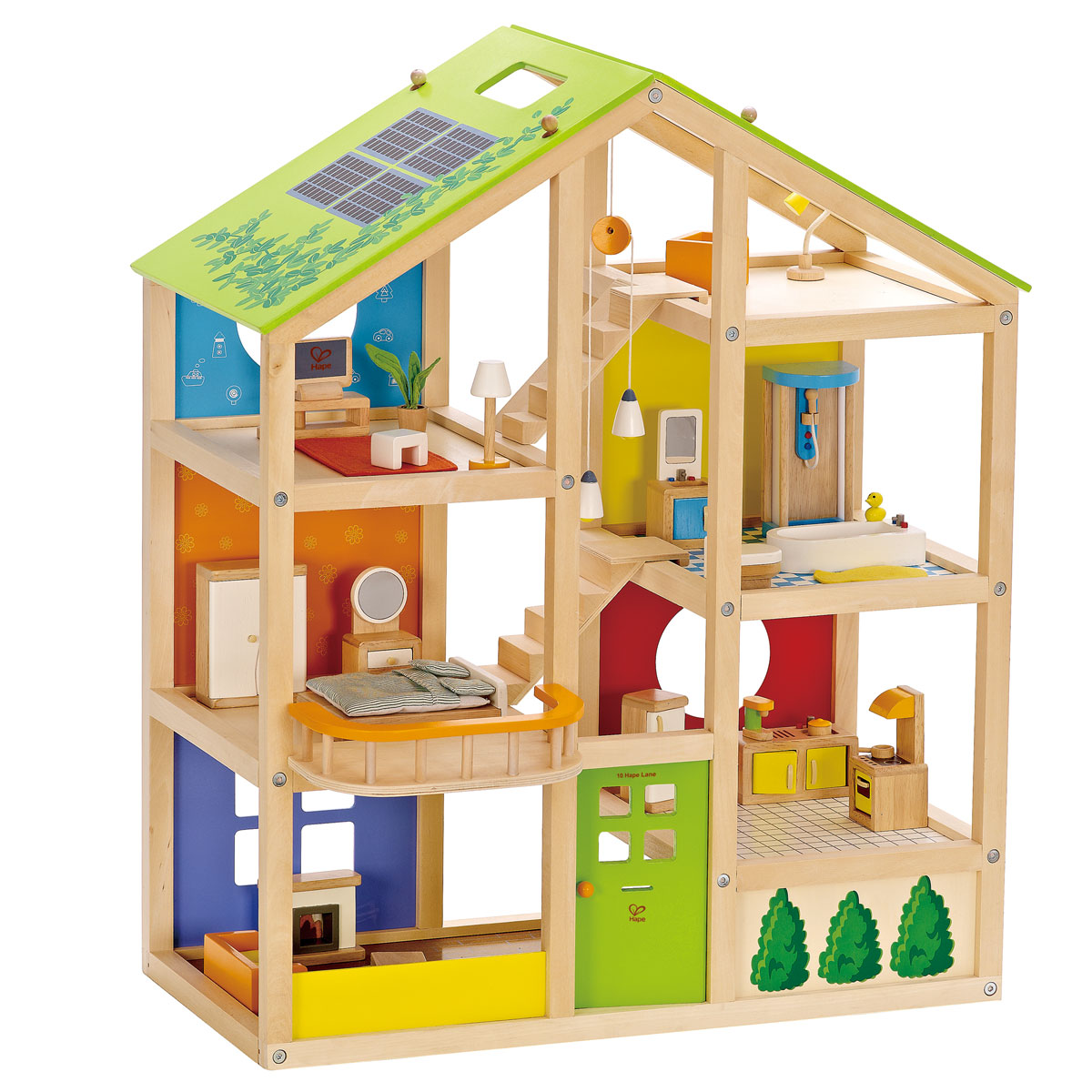 hape puppenhaus e3401 vier jahreszeiten aus holz pirum. Black Bedroom Furniture Sets. Home Design Ideas