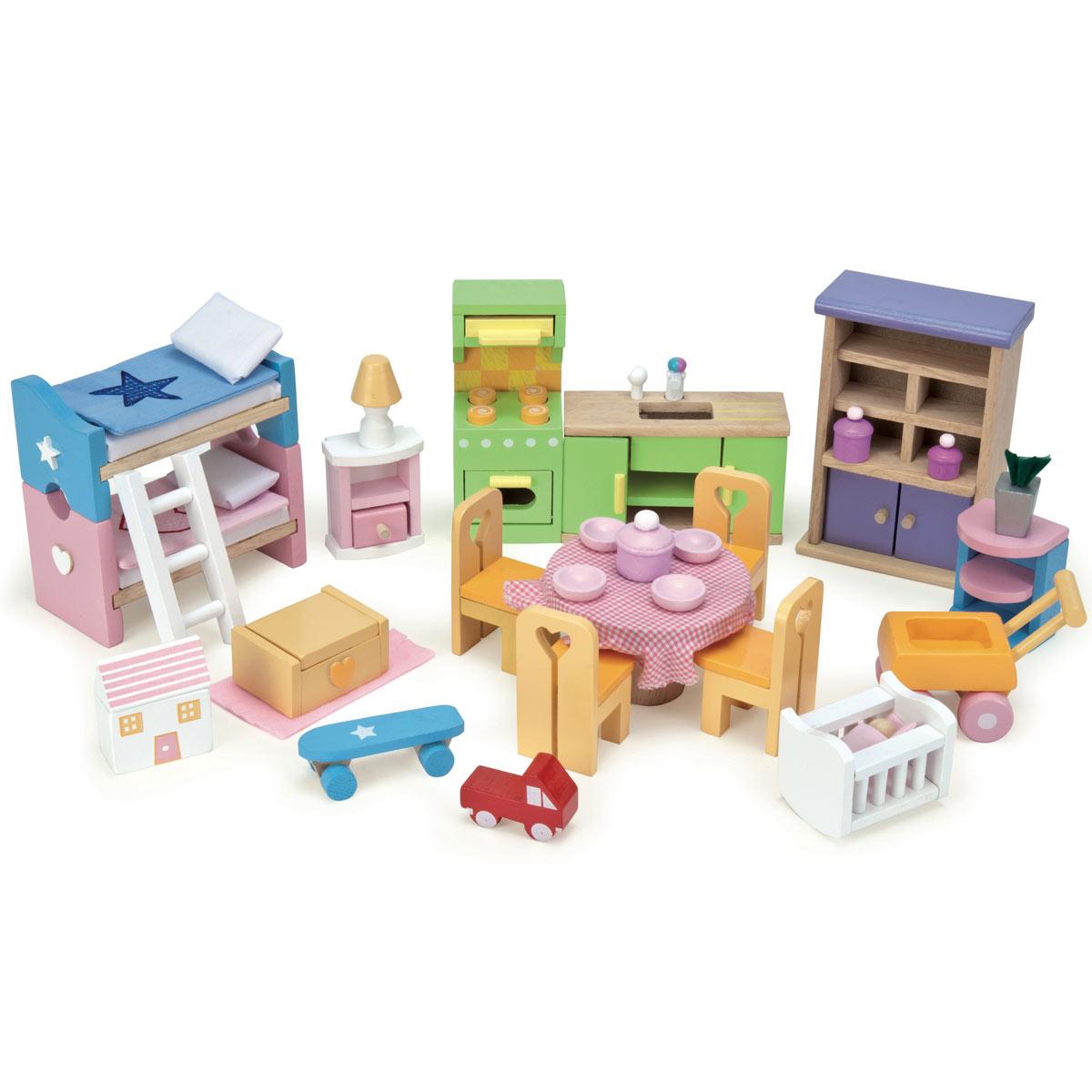 le toy van puppenhausmöbel: starter möbel set me040