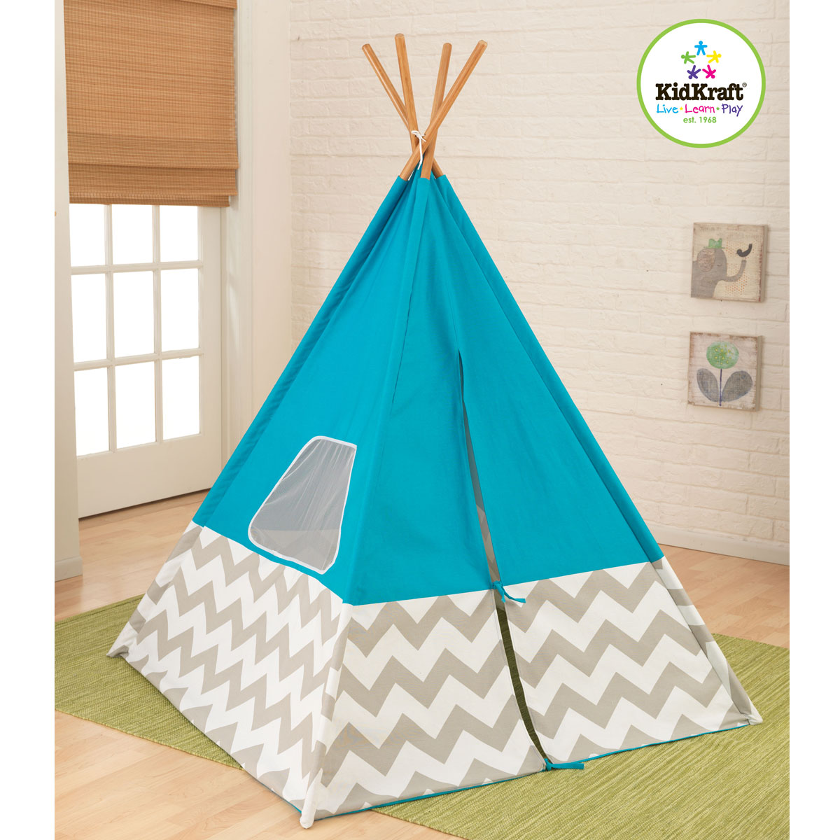 kidkraft 00223 kinderzelt tipi blau pirum. Black Bedroom Furniture Sets. Home Design Ideas