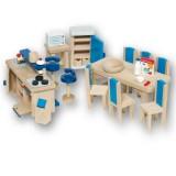 Goki Puppenhausmöbel Küche blau