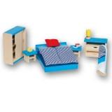 Goki poppenhuismeubeltjes slaapkamer blauw
