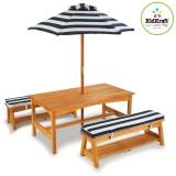 Kidkraft Gartentisch & Bänke mit Sitzkissen/Sonnenschirm