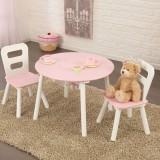 Kidkraft Runder Aufbewahrungstisch mit zwei Stühlen - Weiß/Pink
