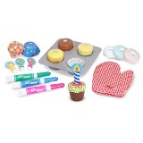 Melissa & Doug 14019 Wooden bake & decorate cupcake set