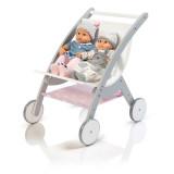 MUSTERKIND Puppen-ZwillingsWagen - Barlia  grau/weiß