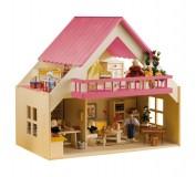 Rülke Puppenhaus mit Balkon pink