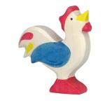 Holztiger Spielfigur Hahn, blau