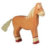 Holztiger Spielfigur Pferd, stehend, hellbraun