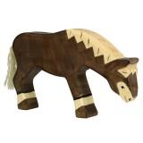 Holztiger Spielfigur  Pferd, grasend, dunkelbraun