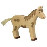 Holztiger Spielfigur  Pferd, stehend, gefleckt