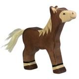 Holztiger Spielfigur Fohlen, stehend, dunkelbraun