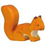 Holztiger Spielfigur Eichhörnchen, stehend, orange
