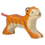 Holztiger Spielfigur Tiger, klein, laufend
