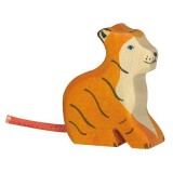Holztiger Spielfigur Tiger, klein, sitzend
