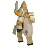 Holztiger Spielfigur Weisser Ritter, reitend (ohne Pferd)